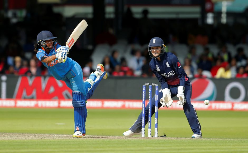 Harmanpreet Kaur looked to steady Indian nerves with Punam Raut hoping to repeat her semi-final heroics. Reuters