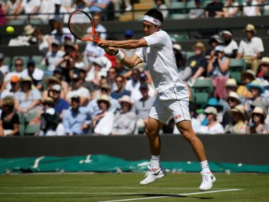Tennis - Wimbledon - London, Britain - July 5, 2017 Japan's Kei Nishikori in action during his second round match against Ukraine's Sergiy Stakhovsky REUTERS/Toby Melville - RTX3A4TJ