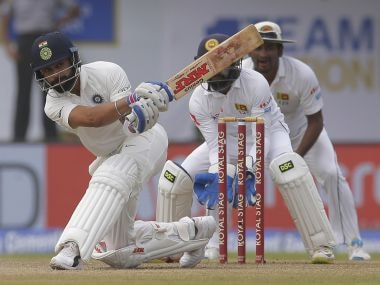 Indian cricket captain Virat Kohli plays a shot during the fourth day's play of the first test cricket match between India and Sri Lanka in Galle, Sri Lanka, Saturday, July 29, 2017. (AP Photo/Eranga Jayawardena)
