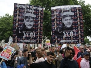 Thousands of protesters march through London; decry austerity, demand Theresa May's resignation