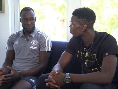 Romelu Lukaku and Paul Pogba having an interaction on Monday. MUTV
