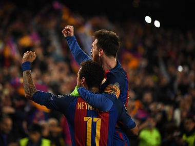 BARCELONA, SPAIN - MARCH 08: Lionel Messi and Neymar of Barcelona celebrate the sixth goal during the UEFA Champions League Round of 16 second leg match between FC Barcelona and Paris Saint-Germain at Camp Nou on March 8, 2017 in Barcelona, Spain. (Photo by Laurence Griffiths/Getty Images)