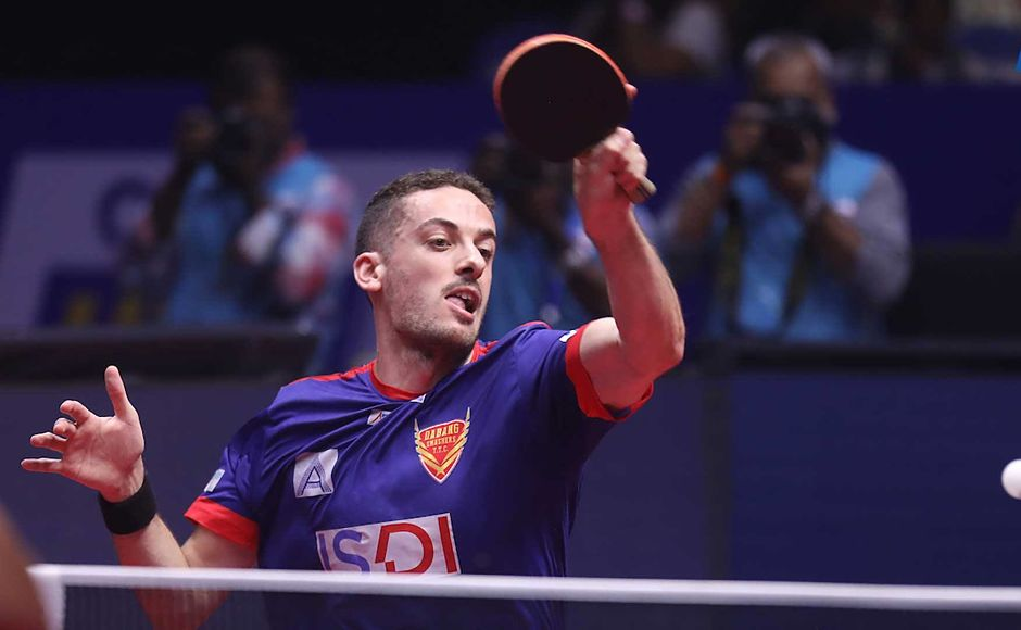 Marcos Freitas won the first match 2-1 against Soumyajit Ghosh. Image courtesy: Facebook/ @UltimateTableTennis