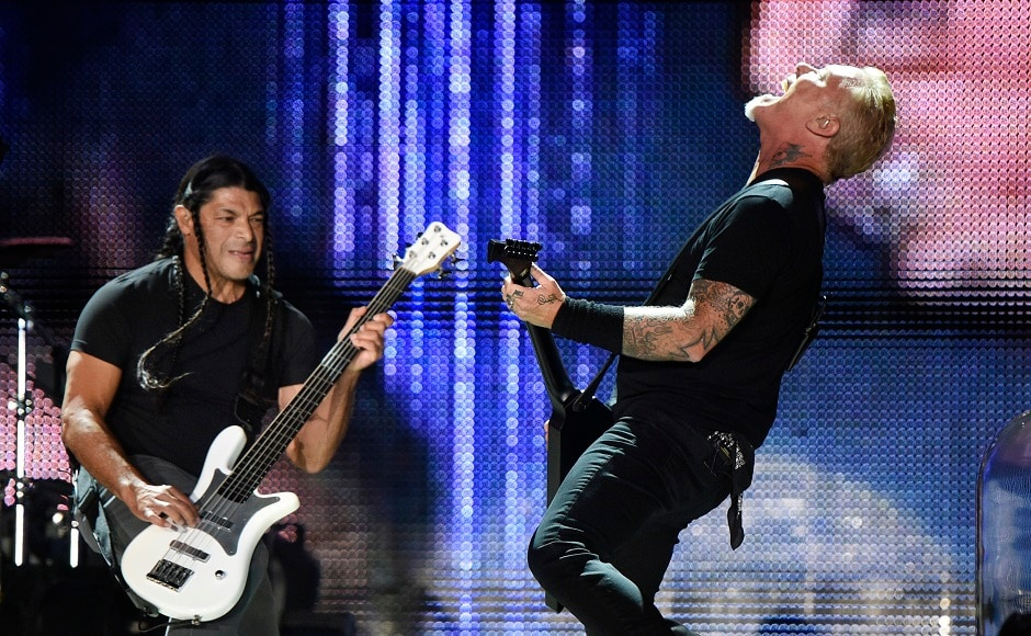 Robert Trujillo, left, and James Hetfield of Metallica. Photo by AP