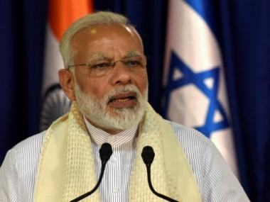 Narendra Modi in Israel. PTI
