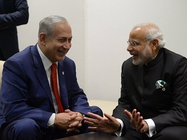 File image of Narendra Modi and Benjamin Netanyahu. PTI
