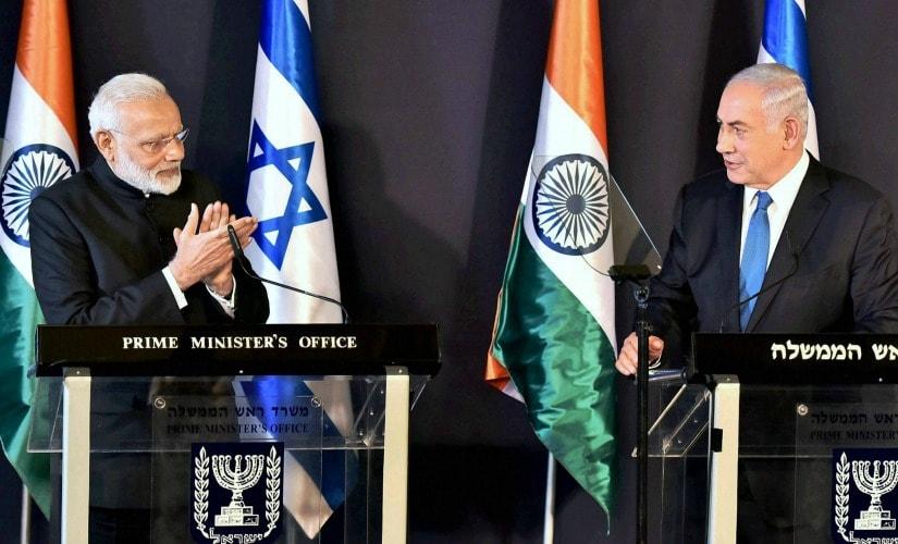 Narendra Modi and Benjamin Netanyahu at Jerusalem on Wednesday. PTI