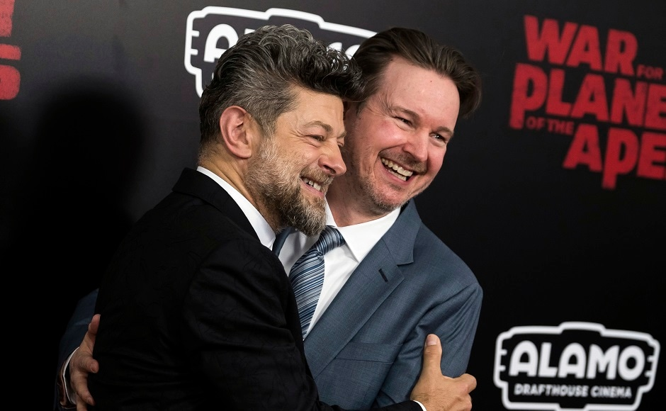 Andy Serkis, the lead actor, left, and director Matt Reeves. Photo by AP