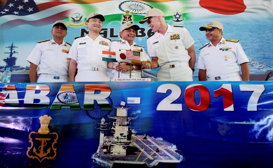 The three-nation Malabar Naval Exercise involving India, Japan and the United States maritime forces began on Monday in Chennai. PTI