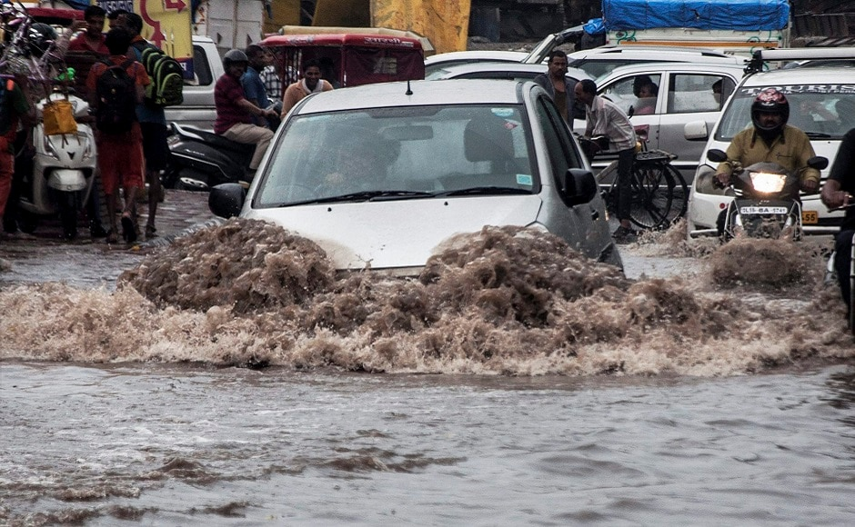Strong showers lashed Delhi and parts of the National Capital Region (NCR) on Monday, bringing the mercury level down as the skies remained overcast for much for the day. PTI