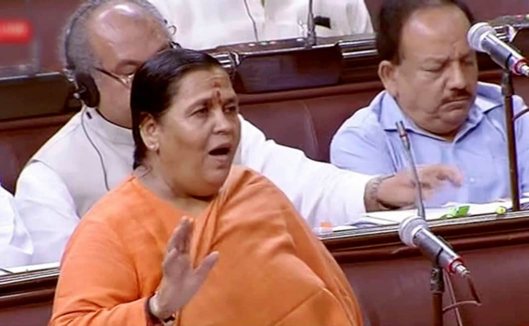 Union water resources minister Uma Bharti spoke in the Rajya Sabha on cleaning of rivers and rejuvenation of the Ganga. PTI