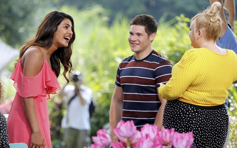 (L-R) Priyanka Chopra, Adam Devine and Rebel Wilson on the sets of the film. Image via Twitter.