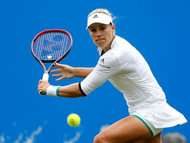 Tennis - WTA Premier - Aegon International - Devonshire Park Lawn Tennis Club, Eastbourne, Britain - June 28, 2017 Germany's Angelique Kerber in action during her first round match against Czech Republic's Karolina Pliskova Action Images via Reuters/Matthew Childs - RTS18YKX