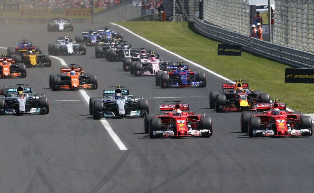 The two Ferraris made a clean start to lead ahead of Bottas while, behind them, the first lap featured mayhem and a Safety Car intervention. AP