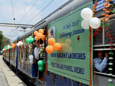 One of the Solar Powered Environment friendly DEMU trains were shown to media persons at Safdarjung railway station in New Delhi on Friday. PTI