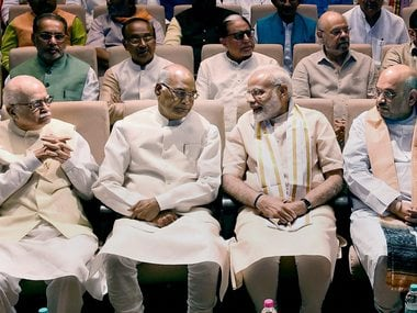 President-elect Ram Nath Kovind (second from left) with Prime Minister Narendra Modi (second from right), BJP leaders Amit Shah (right) and LK Advani. PTI
