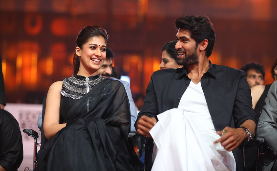 Nayanthara and Rana Daggubati share a canded moment. Image from Twitter.