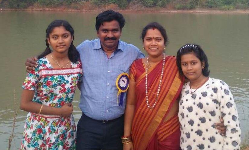 Lokeshwara Rao Moogi with his family. Wife Jayasri and daughters Falguni (left) and Sahithi.
