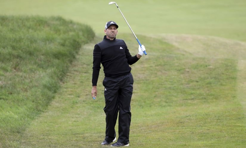 Sergio Garcia watches his shot on the 2nd fairway during the second round of the British Open. AP