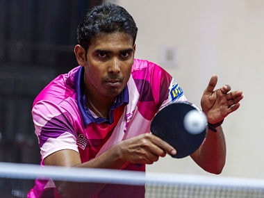 Sharath Kamal Achanta of RP-SG Mavericks in action during the practice session of the UTT. Ultimate Table Tennis