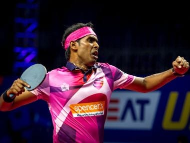 Sharath Kamal reacts after winning the match against Mavericks. Image courtesy: Ultimate Table Tennis