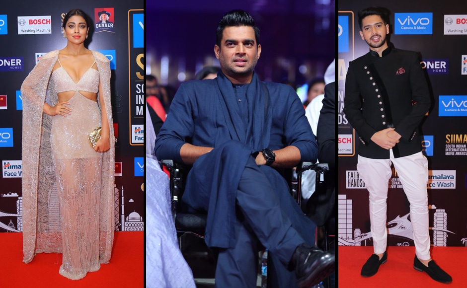 (L-R) Shriya Saran, R. Madhavan and Armaan Malik were also spotted at the awards. Image from Twitter.