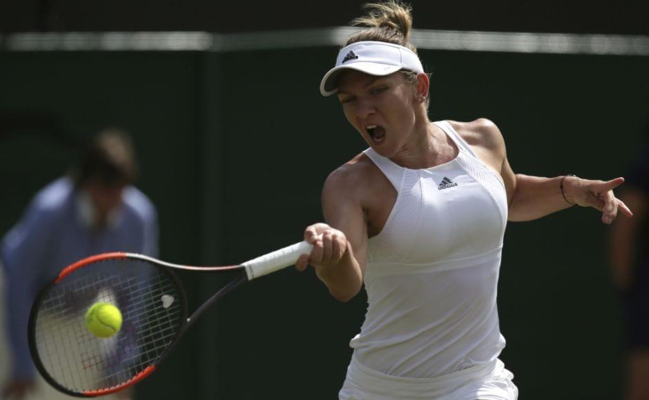 World No 2 Simona Halep of Romania defeated China's Peng Shuai to reach the fourth round of Wimbledon. AP