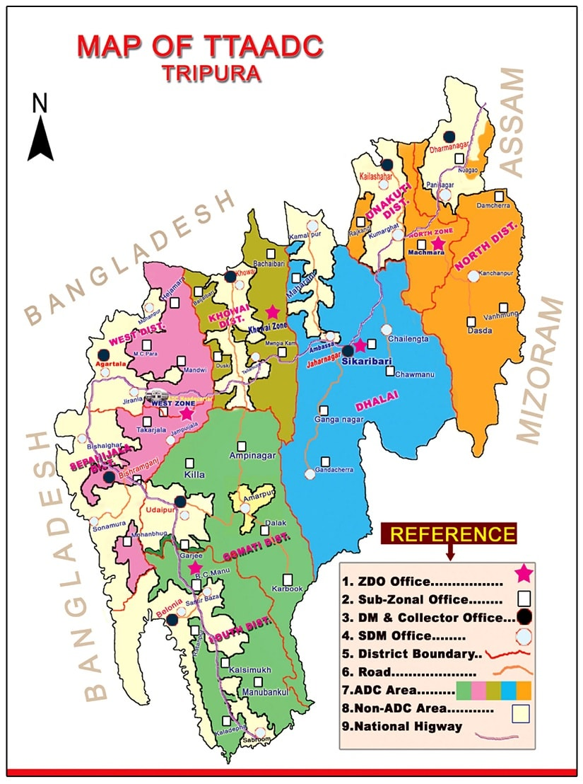 Map of the Tripura Tribal Areas Autonomous District Council (TTAADC). Image credit: Ttaadc.gov.in