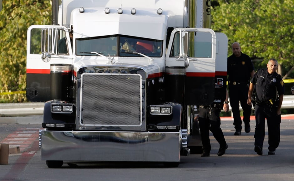 Eight suspected migrants were found dead early Sunday inside an overheated truck in a Walmart parking lot in San Antonio, Texas, and nearly 30 others were hospitalised, in what police said appeared to be a