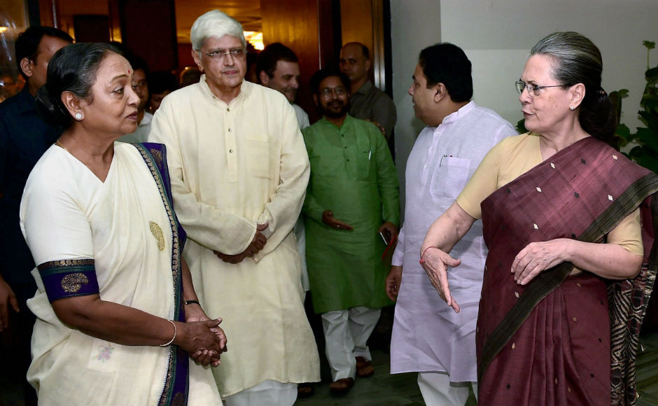 While addressing a gathering of opposition parties in New Delhi, Sonia introduced presidential and vice presidential nominees, Meira Kumar and Gopalkrishna Gandhi respectively. PTI