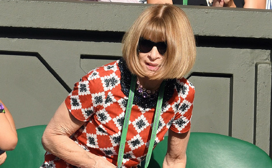 Anna Wintour attends day six of the Wimbledon Tennis Championships at the All England Lawn Tennis and Croquet Club on July 8, 2017 in London, United Kingdom. (Getty Images)