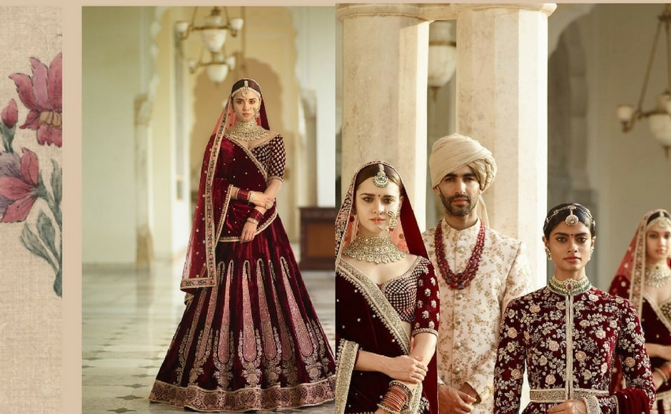 The Gulkand collection borrows heavily from drying rose petals, gulkand, kishmish, cardamom, zarda and pomegranate set the mood and the colour palette. Antiquated zardosi, semi-precious stones and pearls form the basis of these baroque bridalwear lehengas. Image via Sabyasachi Mukherjee/Instagram