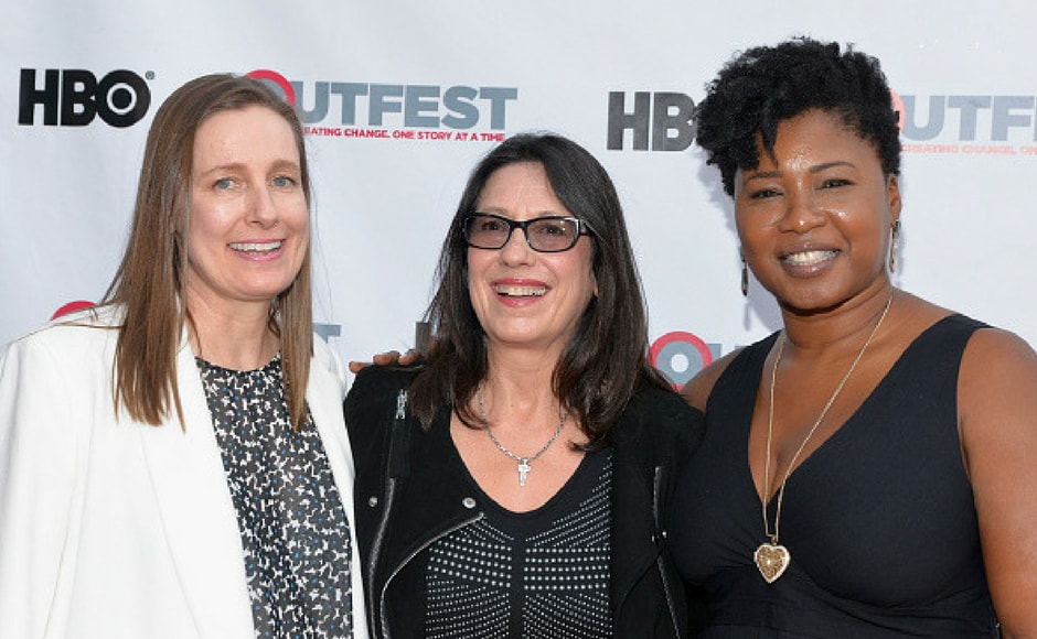 (L-R)Executive Producers Leslie Thomas and Lori Kaye and Taj Paxton attend a screening of 'KEVYN AUCOIN: Beauty and the Beast in Me' at 2017 Outfest Los Angeles LGBT Film Festival at the Directors Guild of America in Los Angeles, California. (Getty Images)