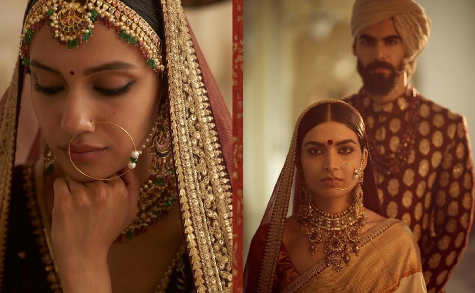 Sabyasachi says, 'Deep reds, henna and browns, reminiscent of 'The Indian Earth' have a certain sense of dominance and power. ' Silk, kanjeevaram, zardozi and gota form the basis of the bridalwear for the The Indian Earth collection. Image via Sabyasachi Mukherjee/Facebook