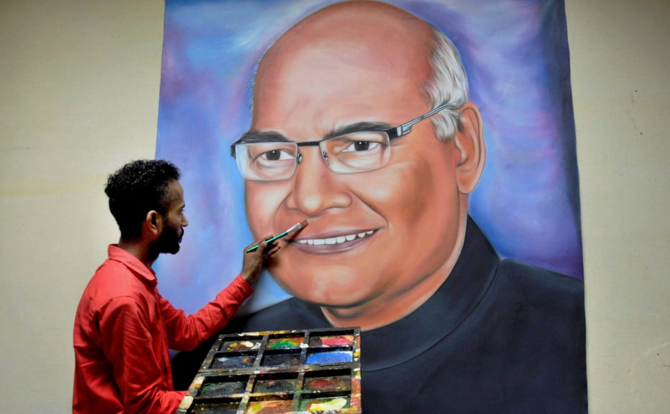 Artist Jagjot Singh Rubal finishes his painting of the newly elected President Ram Nath Kovind, at his home studio in Amritsar on Thursday. Kovind will be sworn in as the 14th President of India on 25 July. PTI