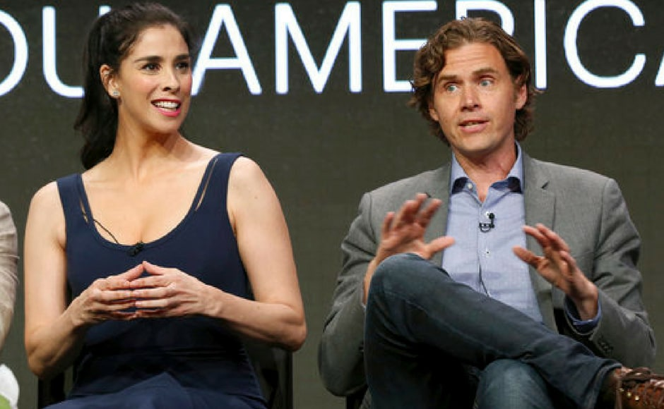 Sarah Silverman and executive producer/ Gavin Purcell participate in the 'I Love You, America' panel during the Hulu Television Critics Association Summer Press Tour at the Beverly Hilton in Beverly Hills, California. (AP Photo)