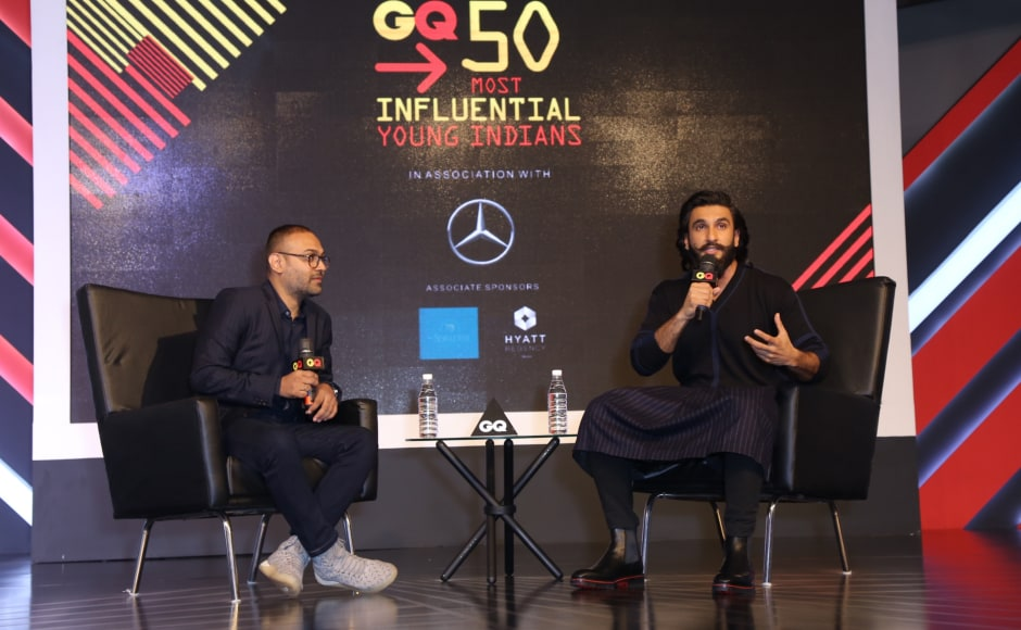 The evening began with an engaging conversation between GQ India's Editor, Che Kurrien and Bollywood actor Ranveer Singh.