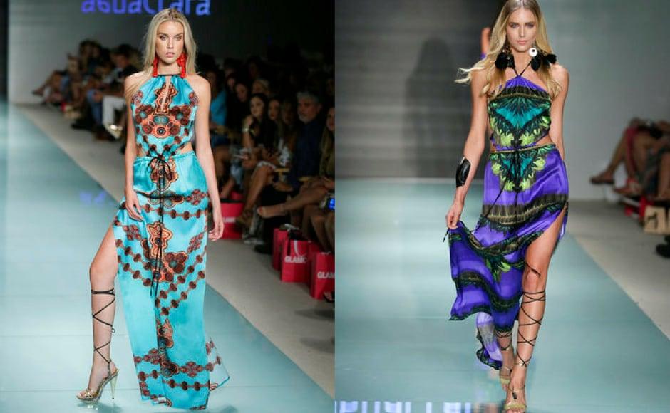 The Agua Clara Swimwear collection was full of bright colours during the FUNKSHION Fashion show at Miami beach, Florida, USA. (AP Photo)
