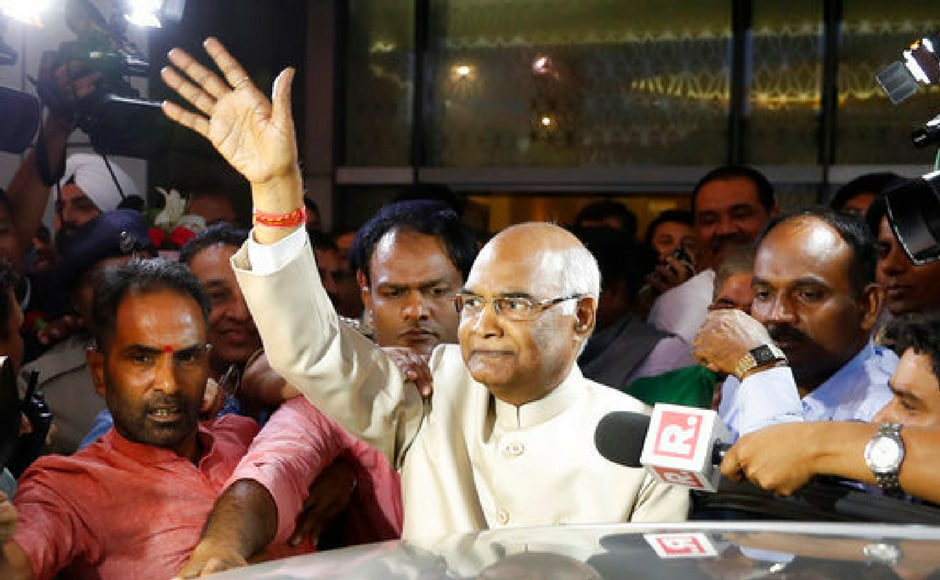 Ram Nath Kovind, waves to media upon arrival at the New Delhi airport. After his victory, Kovind said he had never aspired to become the president and his win is a message to those discharging their duties with integrity.AP