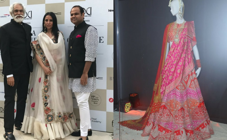 FDCI's (Fashion Design Council of India) India Couture Week 2017 kicked off with Anamika Khanna's collection display. In the left photo, we have Sunil Shethi(president, FDCI) posing with Anamika Khanna. The photograph on the right is a design from Khanna's display. Images via FDCI/Twitter