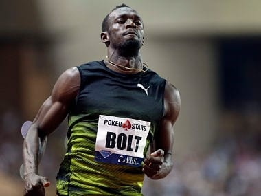 Jamaica's Usain Bolt at the men's 100m race at the IAAF Diamond League Athletics meeting. AP