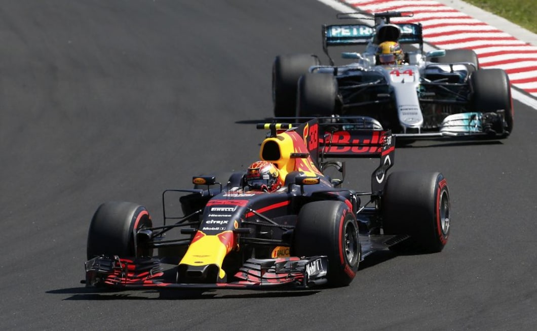 Max Verstappen was given a 10-second time penalty for swerving into his teammate Ricciardo, helping Hamilton's cause.