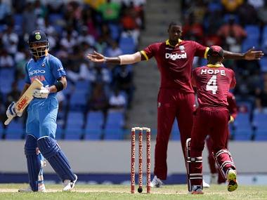 India's captain Virat Kohli after being dismissed on 3 by Jason Holder. AP