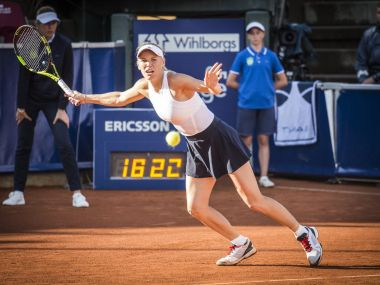Caroline Wozniacki in action during Swedish Open. Image courtesy: Twitter/@swedish_open