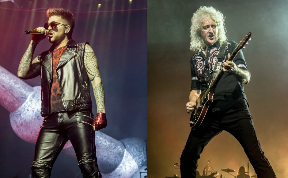 Adam Lambert and Brian May. Images from AP