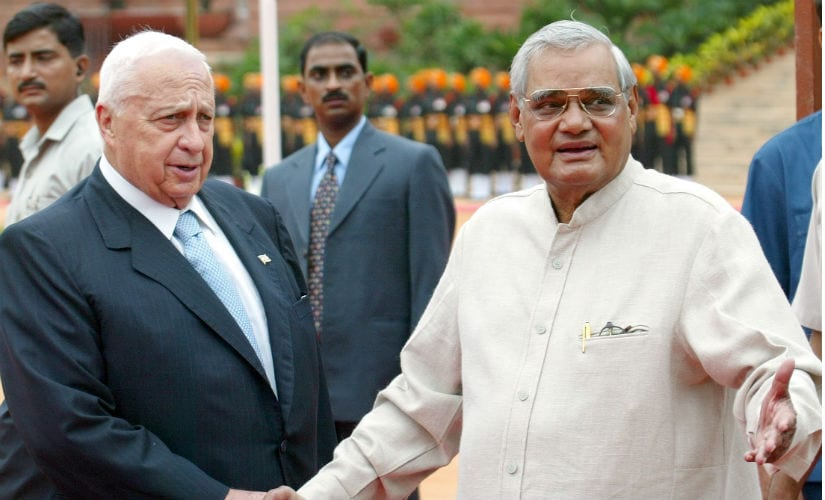 Former Israeli prime minister Ariel Sharon with his then counterpart Atal Bihari Vajpayee. Reuters