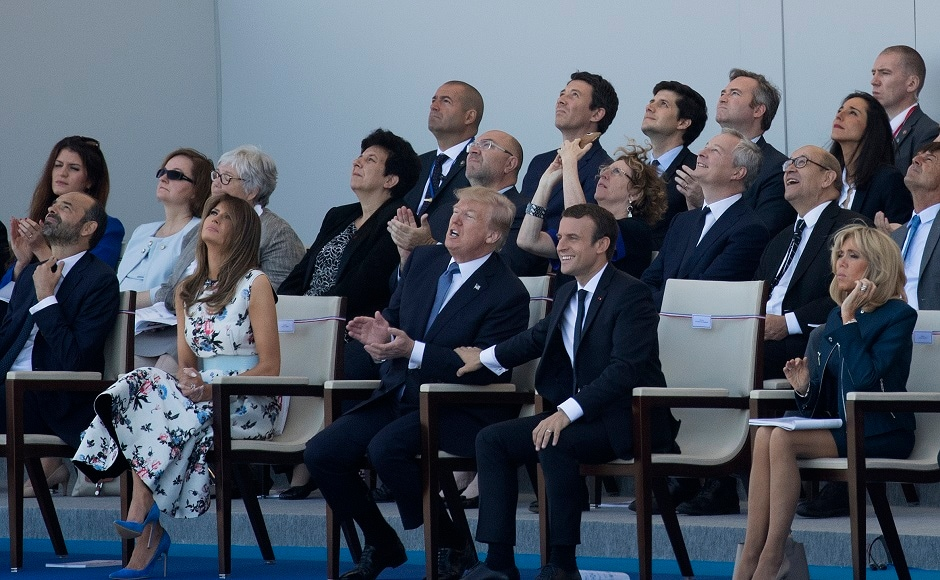 US president Donald Trump joined French president Emmanuel Macron for the Bastille Day celebrations to commemorate the 100th anniversary of the US entry into World War I. The two men sat side by side with their wives to watch the parade. AP