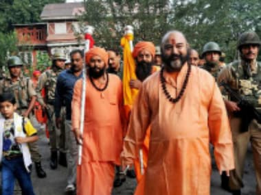 Lord Shivas holy mace Chhari Mubarak taken to Shankaracharya temple in Srinagar on Sunday