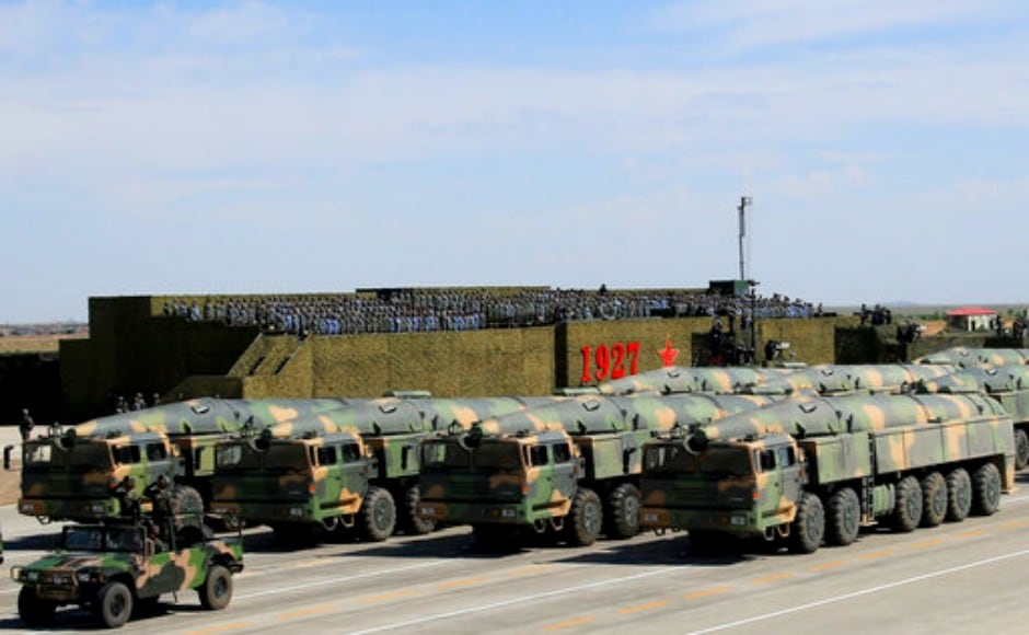 About 12,000 troops took part in the parade in which 129 aircraft and 571 pieces of equipment were on display. Dongfeng missiles which include short, long and medium rage of rockets, a variety of armoury including light tanks, drones were also deployed. AP