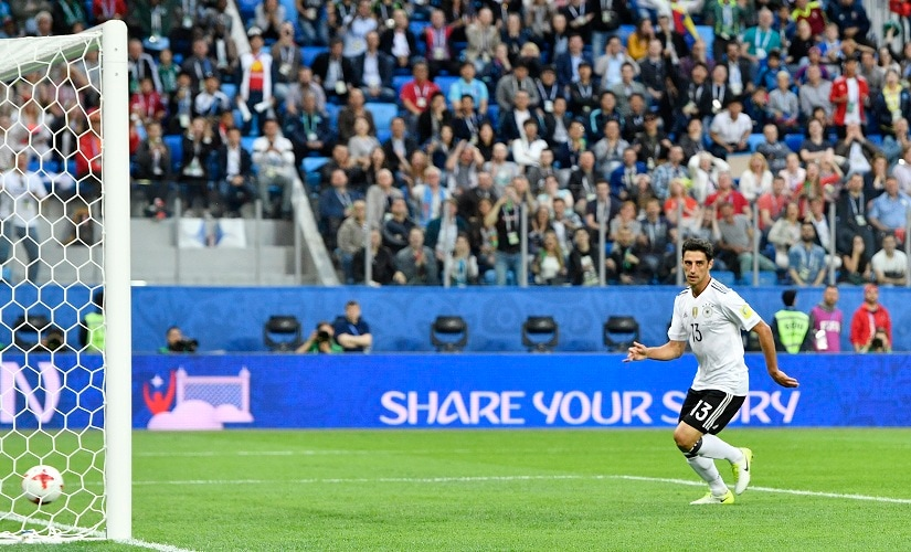 Germany's Lars Stindl scores the only goal of the Confederations Cup final. AP